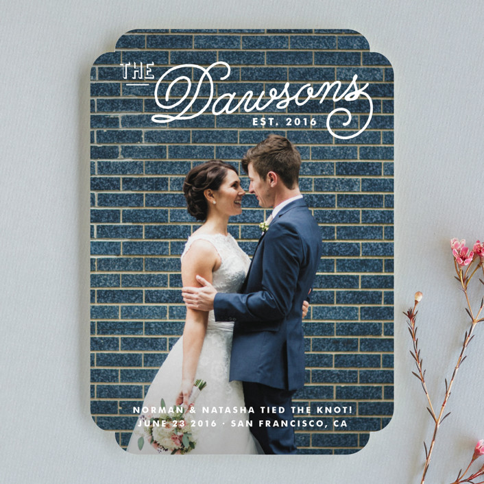 """""""Refined Surname"""" - Vintage, Whimsical & Funny Wedding Announcements in Snow by Oscar & Emma."""