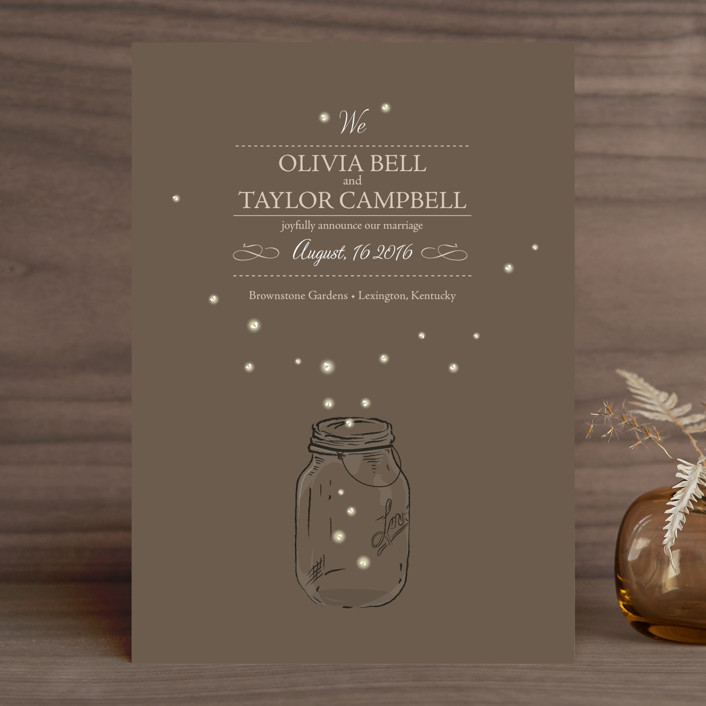 """""""Fireflies"""" - Rustic, Whimsical & Funny Wedding Announcements in Zuni Brown by cadence paige design."""