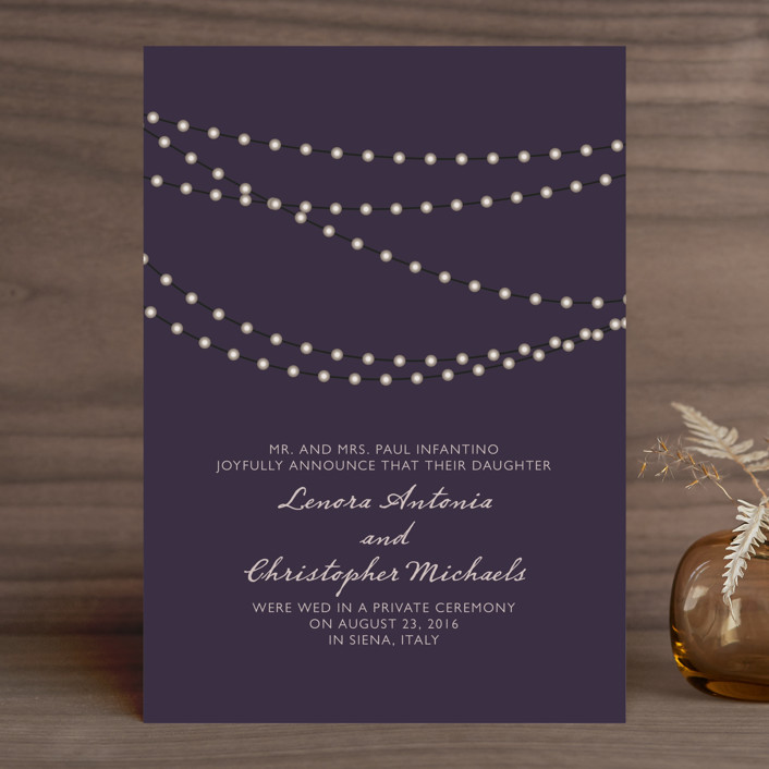 """Midnight Vineyard"" - Formal, Modern Wedding Announcements in Deep Eggplant by Design Lotus."