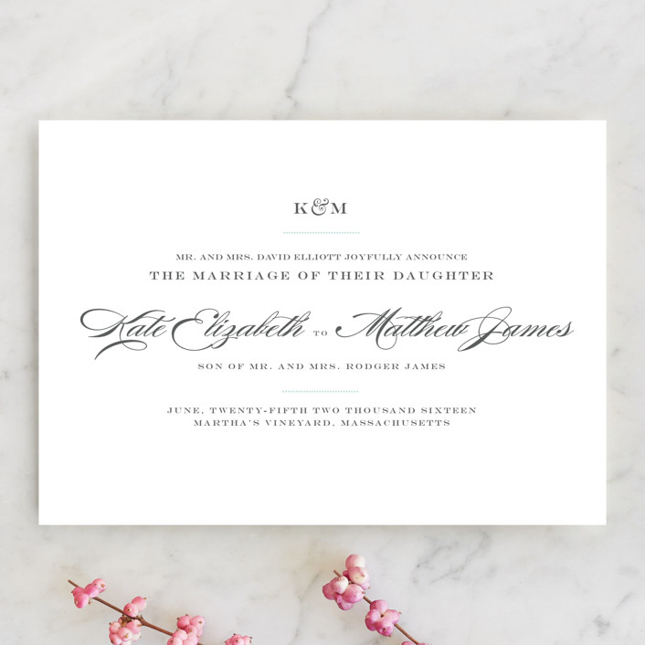 """""""Charming Go Lightly"""" - Formal, Elegant Wedding Announcements in Sky Blue by danielleb."""