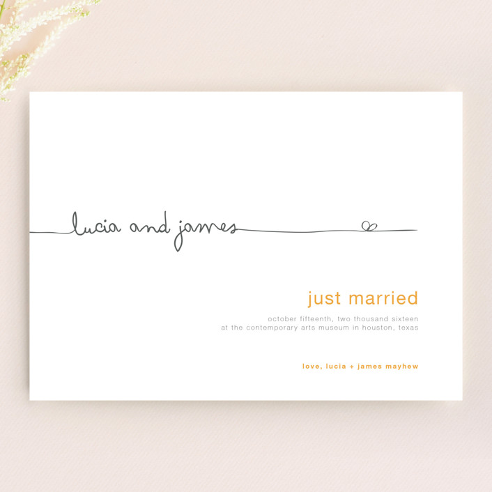 """""""The Happy Couple"""" - Modern, Simple Wedding Announcements in Yellow by R studio."""