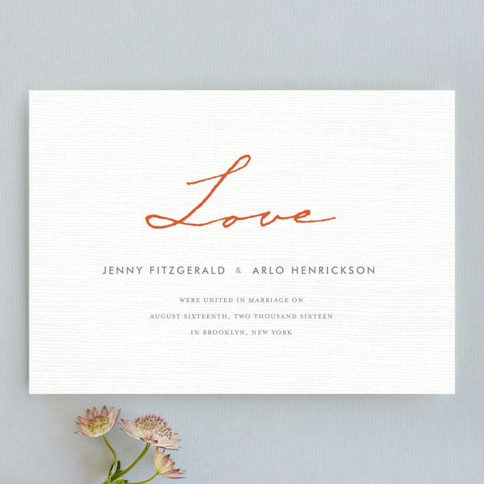 """Simply in Love"" - Modern, Formal Wedding Announcements in Orange Zest by j.bartyn."