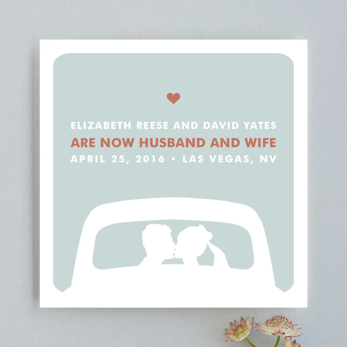 """""""just married"""" - Whimsical & Funny Wedding Announcements in Light Teal by Three Kisses Studio."""