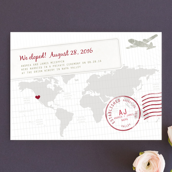 """""""A Faraway Destination"""" - Destination Wedding Announcements in Deep Red by bumble ink."""