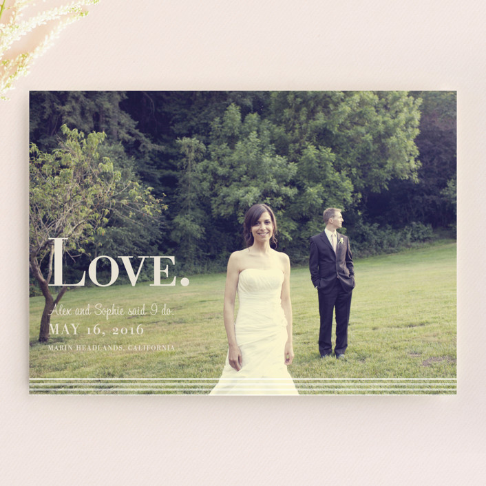 """Nostalgia"" - Modern Wedding Announcements in Cotton by Emily Ranneby."