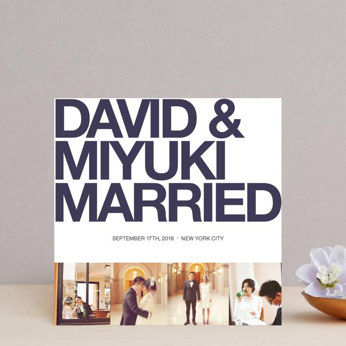 """""""Four Square"""" - Modern Wedding Announcements in Dark Knight Blue by Alex Elko Design."""