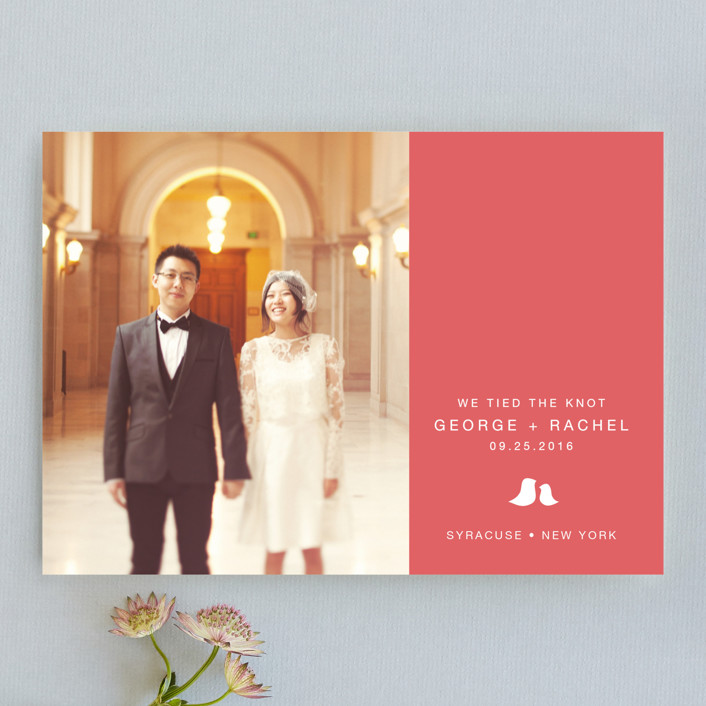 """Sweet and Simple"" - Simple Wedding Announcements in Pink Coral by Guess What Design Studio."