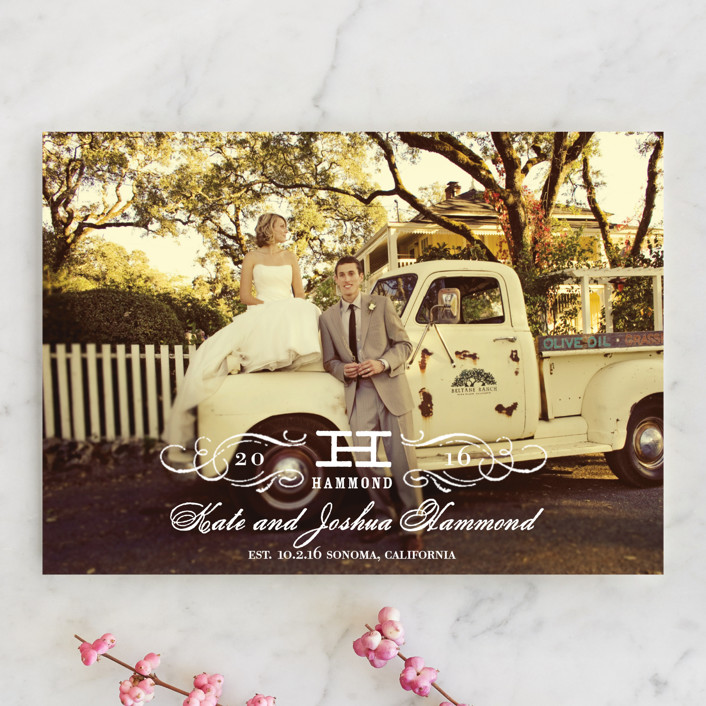 """Vintage"" - Formal, Vintage Wedding Announcements in Cotton by Oscar & Emma."