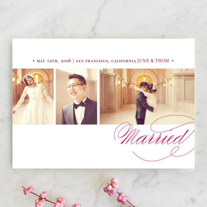 """""""Love & Happiness"""" - Simple, Elegant Wedding Announcements in Soft Ruby by Oscar & Emma."""