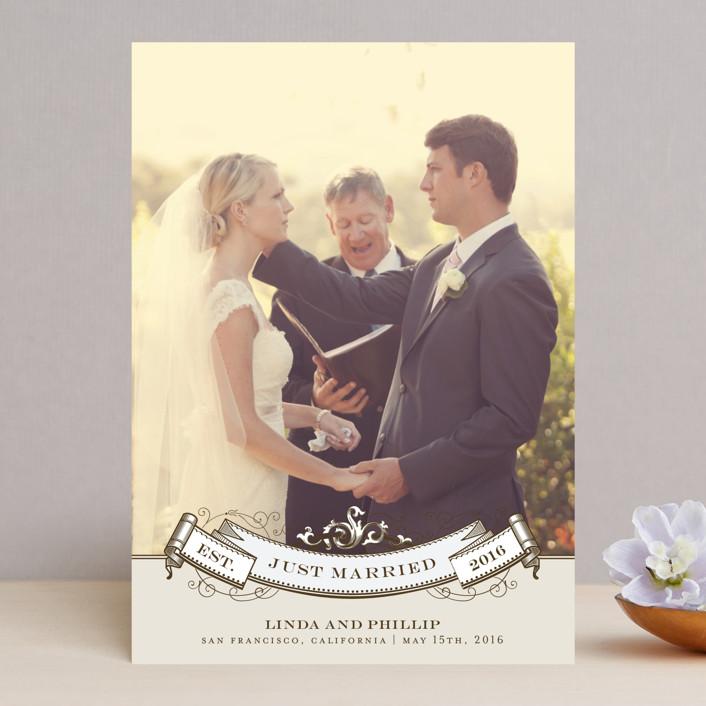 """Celebration"" - Vintage Wedding Announcements in Mocha by Milkmaid Press."