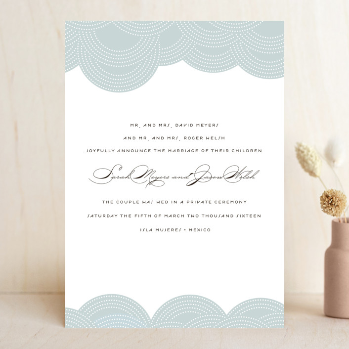 """Pearls on a String"" - Modern, Formal Wedding Announcements in Blue Cloud by annie clark."