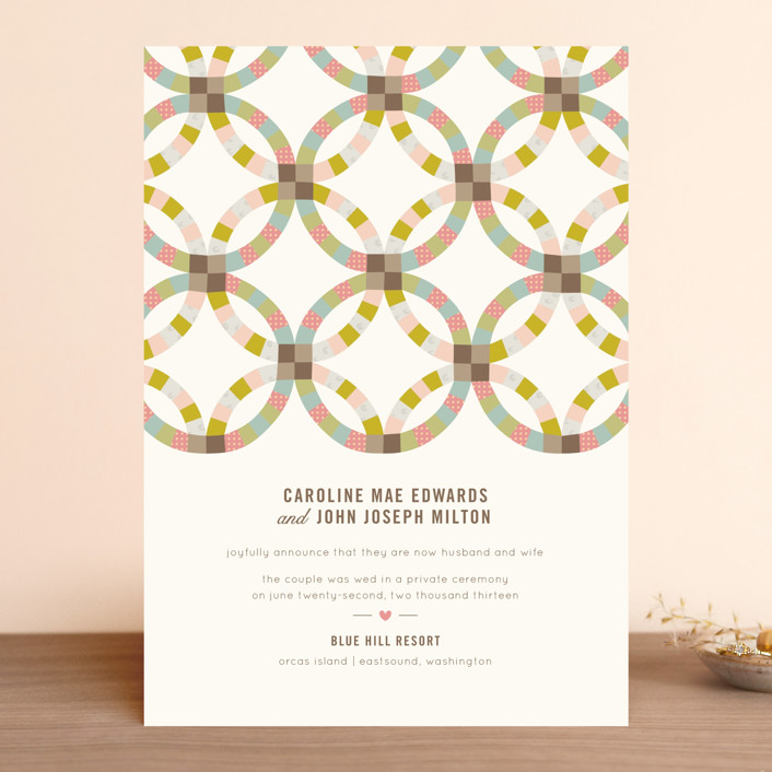 """""""Quilted"""" - Vintage, Rustic Wedding Announcements in Sherbert by Laura Hankins."""
