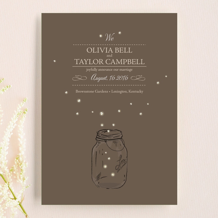 """Fireflies"" - Rustic, Whimsical & Funny Wedding Announcement Postcards in Zuni Brown by cadence paige design."