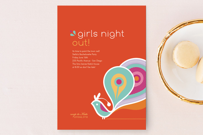 """""""Party Peacock"""" - Whimsical & Funny, Modern Bachelorette Party Invitations in Tangerine by kelli hall."""