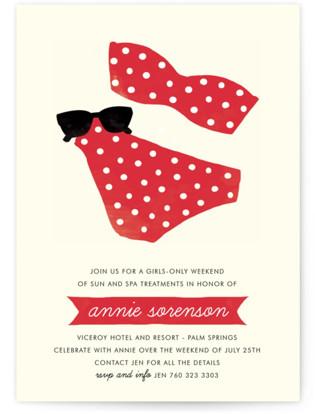 Polka Dot Swim Bachelorette Party Invitations