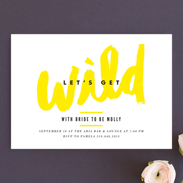 """""""Let's Get Wild"""" - Whimsical & Funny Bachelorette Party Invitations in Lemon by Monica Tuazon."""