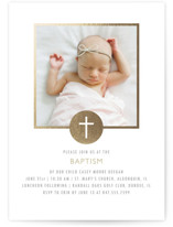 Golden Cross Foil-Pressed Baptism and Christening Invitations