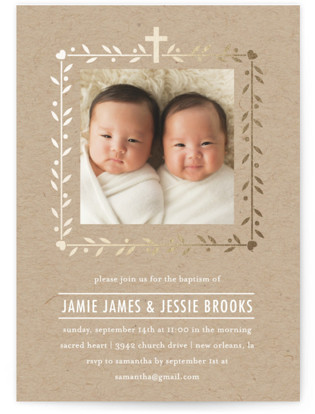 Double the Love Foil-Pressed Baptism and Christening Invitations