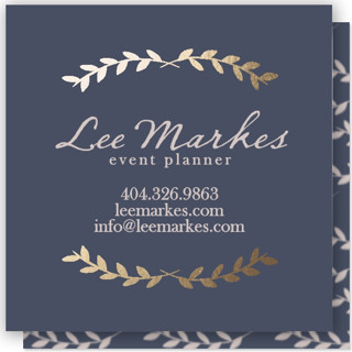 Pretty Ink Wreath Foil-Pressed Business Cards