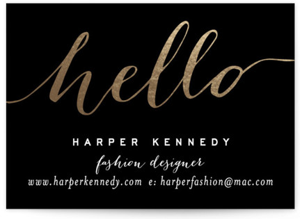 Chic Black and Gold Foil-Pressed Business Cards