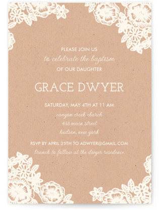 Lace and Kraft Baptism and Christening Invitations
