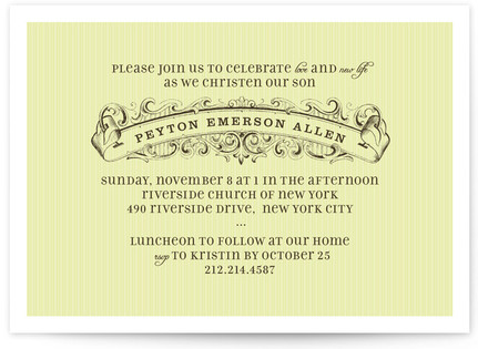 Vintage Banner Baptism and Christening Invitations