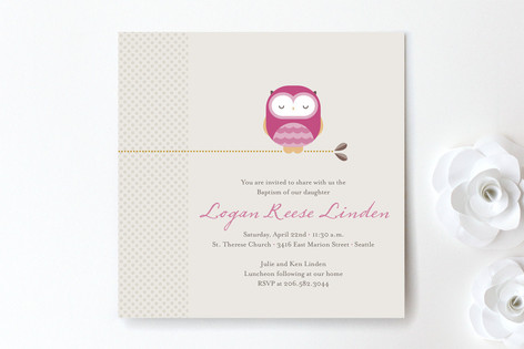 Sweet Owl Baptism & Christening Announcements