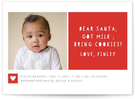 Santa Bring Cookies! Holiday Birth Announcements