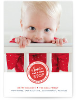 Santa Stop Holiday Birth Announcements