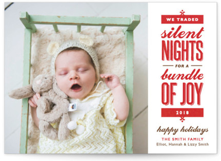 Silent-less Nights Holiday Birth Announcements