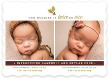 Twice As Nice Holiday Birth Announcements