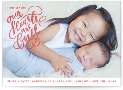 Hearts Are Full Holiday Birth Announcements