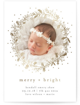 Holly Jolly and Bright Holiday Birth Announcements