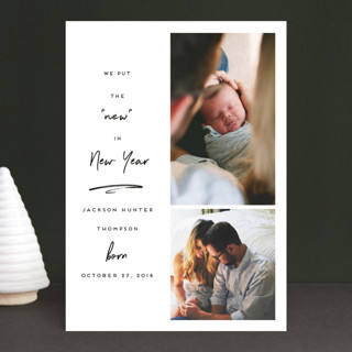 New In New Year Holiday Birth Announcements