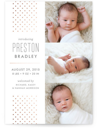 Cascade Foil-Pressed Birth Announcement Cards