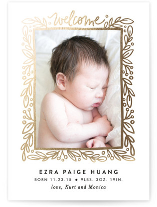 Foliage Frame Foil-Pressed Birth Announcement Cards