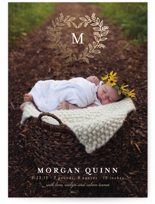 Monogram Heart Foil-Pressed Birth Announcement Cards