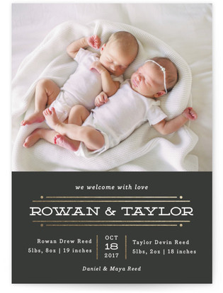 Twin Lines Foil-Pressed Birth Announcement Cards