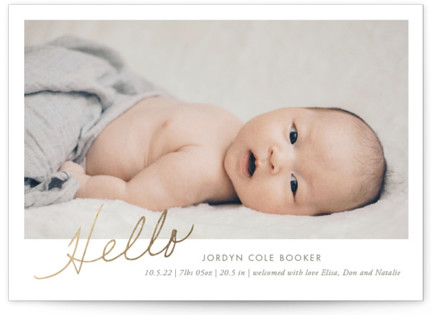 The Sweetest Hello Foil-Pressed Birth Announcement Cards