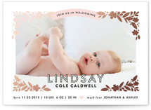 Floral Corners Foil-Pressed Birth Announcements