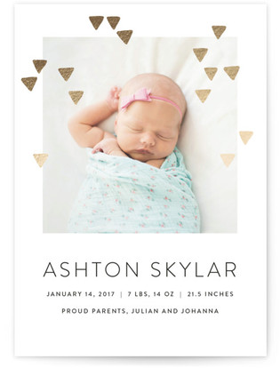 Modern Glow Foil-Pressed Birth Announcement Cards