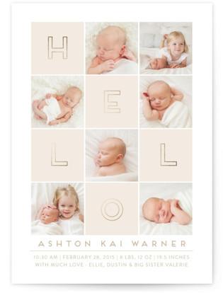 Hello Blocks Foil-Pressed Birth Announcement Cards