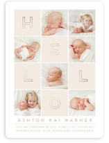 Hello Blocks Foil-Pressed Birth Announcements
