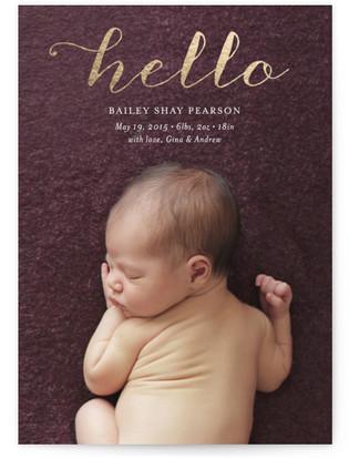 Metallic Hello Swirl Foil-Pressed Birth Announcement Cards