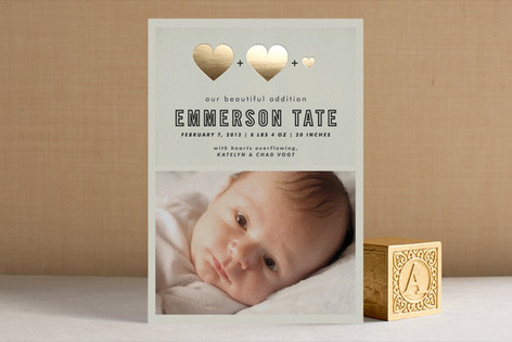A Beautiful Addition Foil-Pressed Birth Announcements
