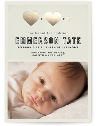 A Beautiful Addition Foil-Pressed Birth Announcement Cards