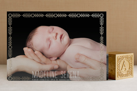 Floral Frame Foil-Pressed Birth Announcements