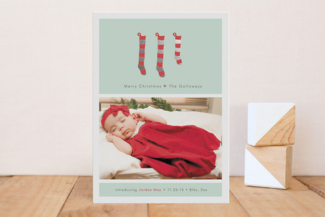 A New Stocking Foil-Pressed Birth Announcements