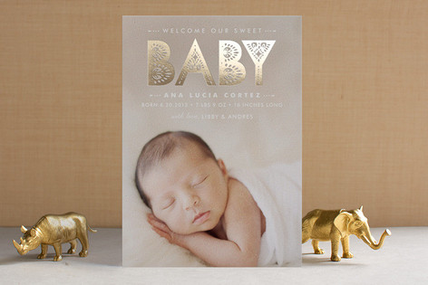 Lacy Paper Foil-Pressed Birth Announcements