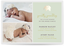 Petite Elefant Foil-Pressed Birth Announcements